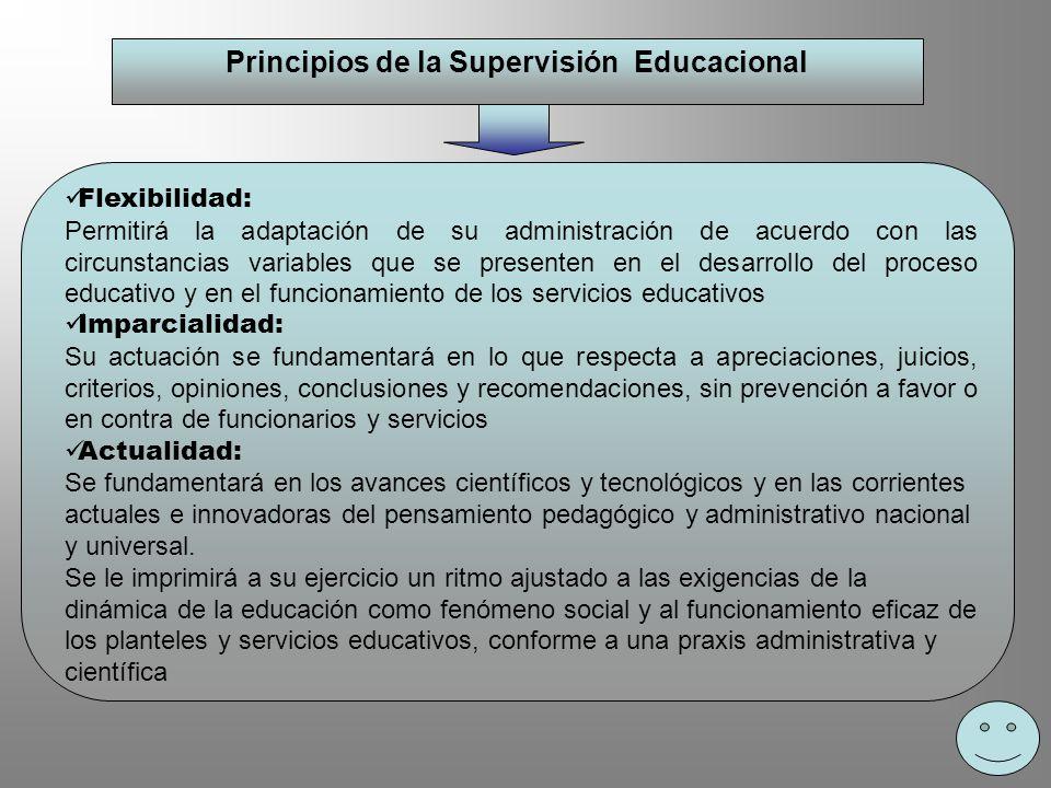 Principios de la Supervisión Educacional Flexibilidad: Permitirá la adaptación de su administración de acuerdo con las circunstancias variables que se