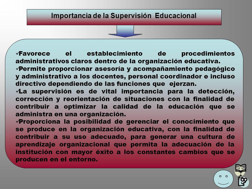 Importancia de la Supervisión Educacional Favorece el establecimiento de procedimientos administrativos claros dentro de la organización educativa. Pe