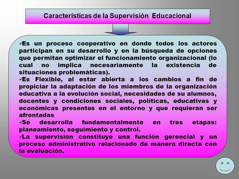 Características de la Supervisión Educacional Es un proceso cooperativo en donde todos los actores participan en su desarrollo y en la búsqueda de opc