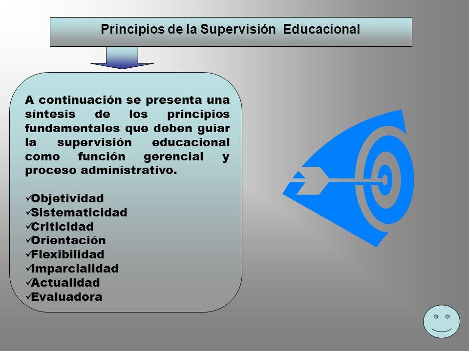 Principios de la Supervisión Educacional A continuación se presenta una síntesis de los principios fundamentales que deben guiar la supervisión educac