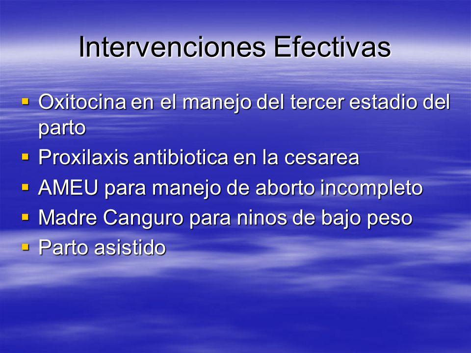 CUALES SON LAS INTERVENCIONES EFECTIVAS? Lactancia materna en la primera hora del parto Lactancia materna en la primera hora del parto Recien nacidos