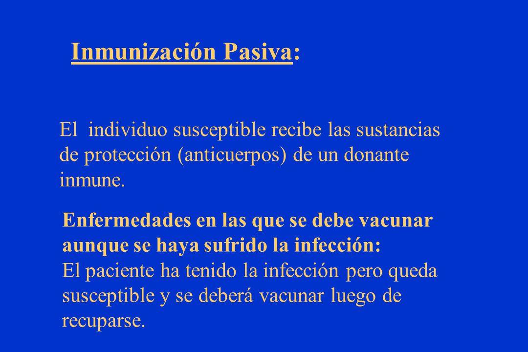 El individuo susceptible recibe las sustancias de protección (anticuerpos) de un donante inmune.