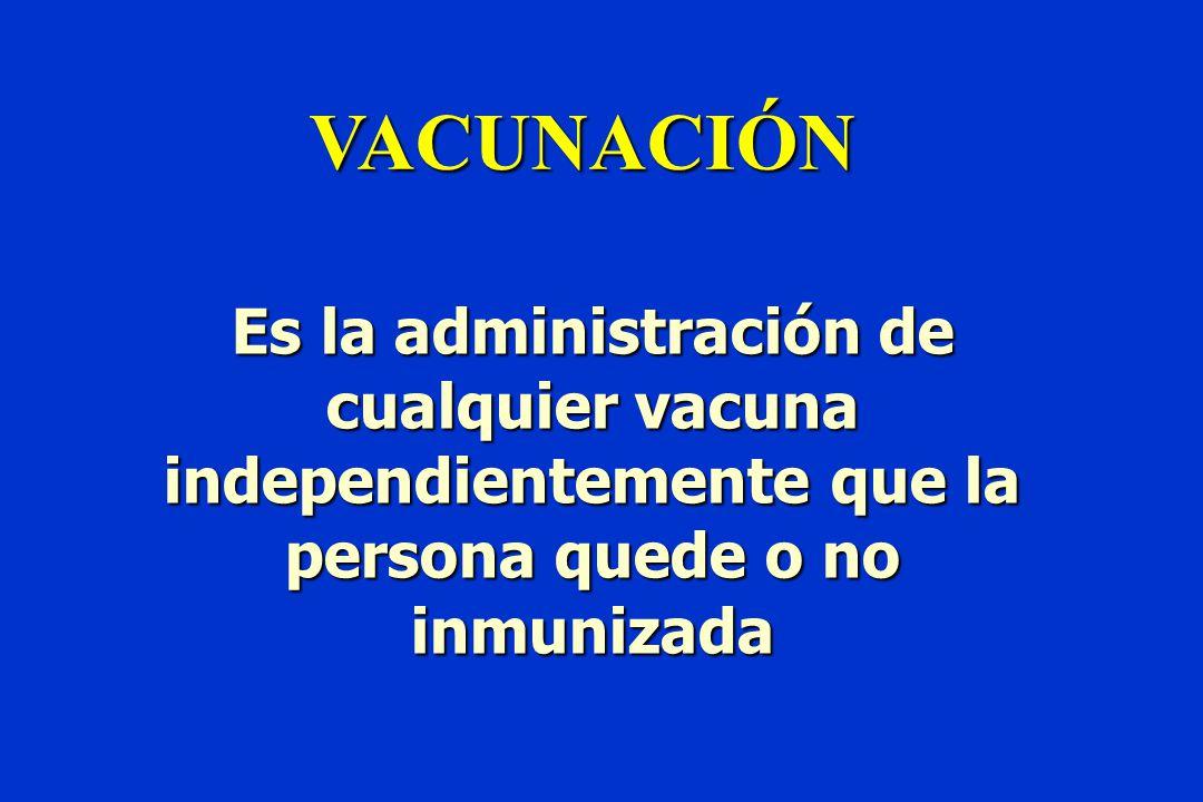 VACUNACIÓN Es la administración de cualquier vacuna independientemente que la persona quede o no inmunizada