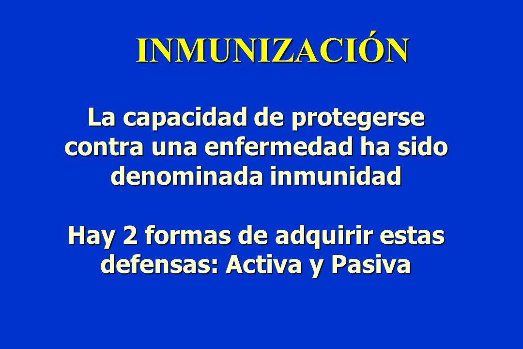 INMUNIZACIÓN La capacidad de protegerse contra una enfermedad ha sido denominada inmunidad Hay 2 formas de adquirir estas defensas: Activa y Pasiva