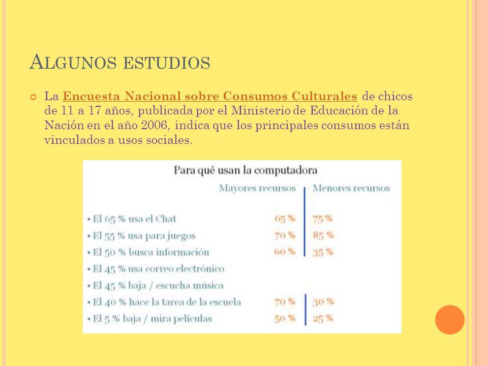 La Encuesta Nacional sobre Consumos Culturales de chicos de 11 a 17 años, publicada por el Ministerio de Educación de la Nación en el año 2006, indica