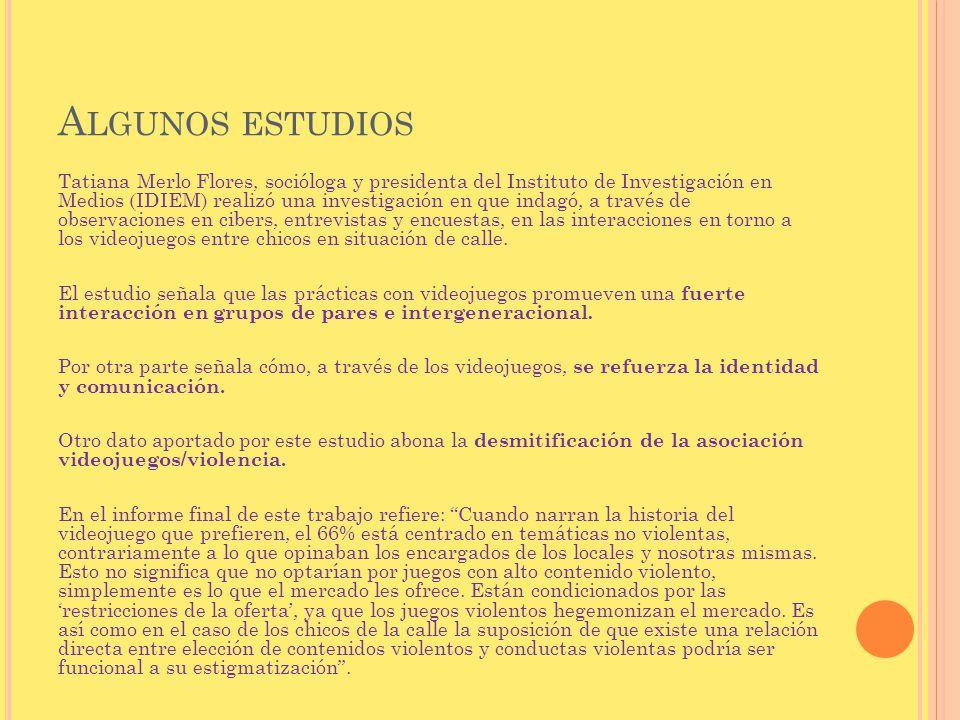 A LGUNOS ESTUDIOS Tatiana Merlo Flores, socióloga y presidenta del Instituto de Investigación en Medios (IDIEM) realizó una investigación en que indag