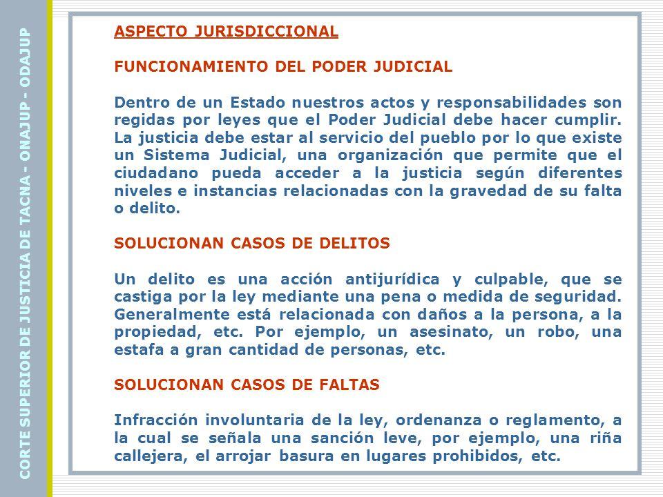 COMPETENCIA: CORTE SUPERIOR DE JUSTICIA DE TACNA - ONAJUP - ODAJUP