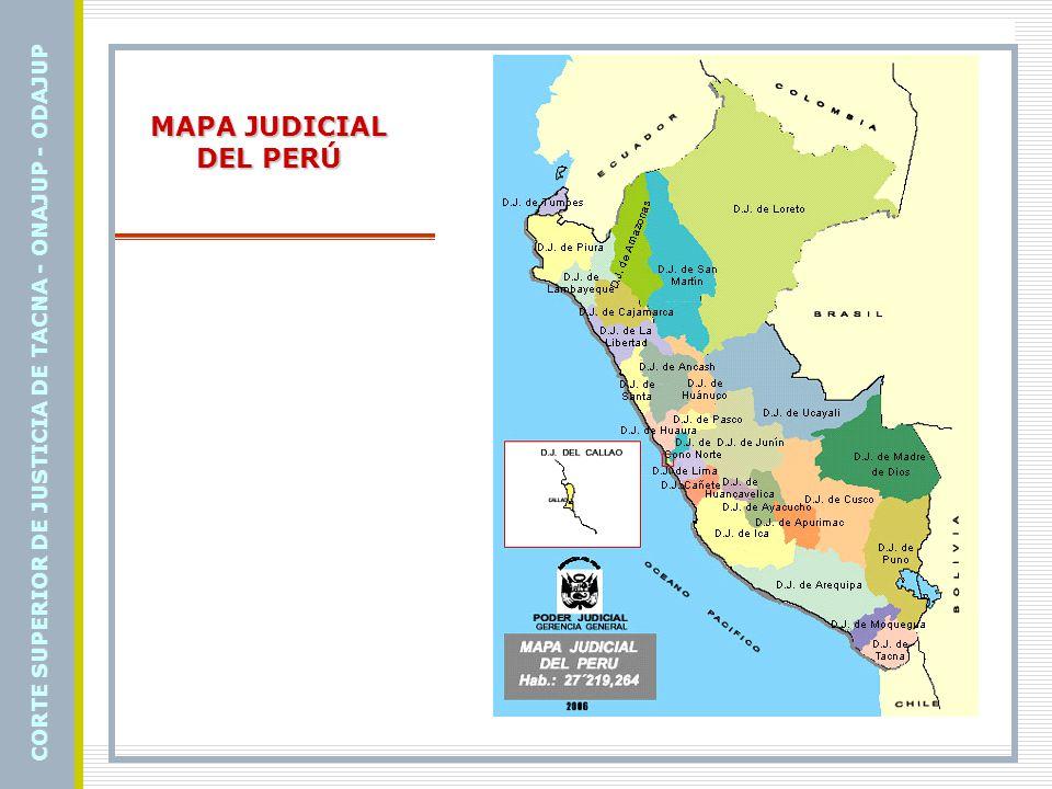 Cortes Superiores de Justicia del Perú Corte Superior de Justicia de AMAZONAS -Corte Superior de Justicia de ANCASH - Corte Superior de Justicia de AREQUIPA - Corte Superior de Justicia de AYACUCHO - Corte Superior de Justicia de CAJAMARCA - Corte Superior de Justicia de CALLAO - Corte Superior de Justicia de CAÑETE - Corte Superior de Justicia de CONO NORTE - Corte Superior de Justicia de CUSCO - Corte Superior de Justicia del SANTA - Corte Superior de Justicia de HUANCAVELICA - Corte Superior de Justicia de HUANUCO - Corte Superior de Justicia de HUAURA - Corte Superior de Justicia de ICA - Corte Superior de Justicia de JUNÍN - Corte Superior de Justicia de LA LIBERTAD - Corte Superior de Justicia de LAMBAYEQUE - Corte Superior de Justicia de LIMA - Corte Superior de Justicia de LORETO - Corte Superior de Justicia de MADRE DE DIOS - Corte Superior de Justicia de PIURA - Corte Superior de Justicia de PUNO - Corte Superior de Justicia de SAN MARTÍN - Corte Superior de Justicia de TUMBES - Corte Superior de Justicia de UCAYALI CORTE SUPERIOR DE JUSTICIA DE TACNA - ONAJUP - ODAJUP