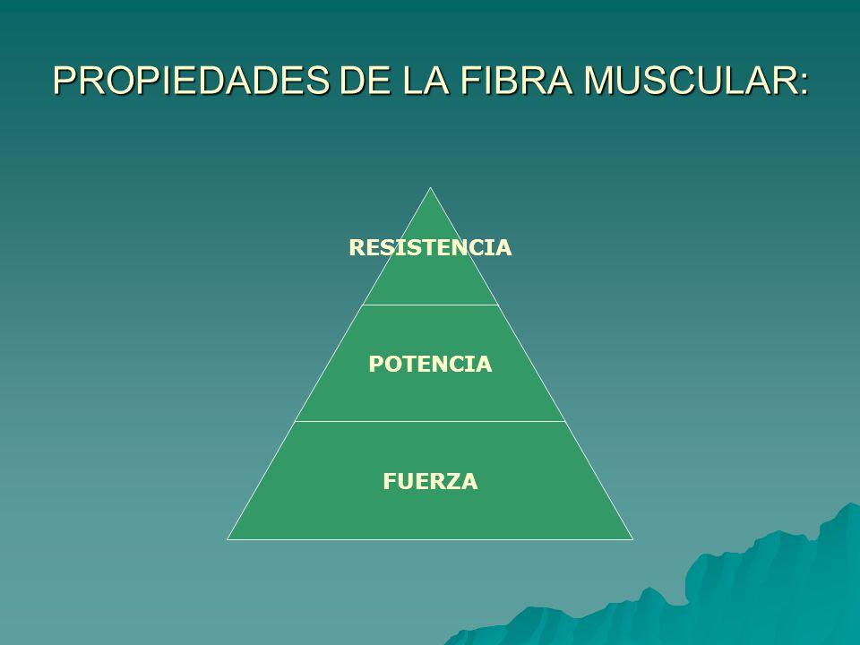 PROPIEDADES DE LA FIBRA MUSCULAR: RESISTENCIA POTENCIA FUERZA