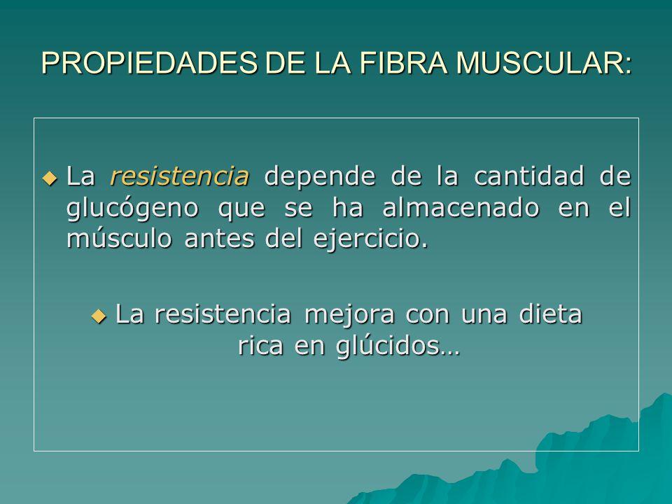 PROPIEDADES DE LA FIBRA MUSCULAR: La resistencia depende de la cantidad de glucógeno que se ha almacenado en el músculo antes del ejercicio.