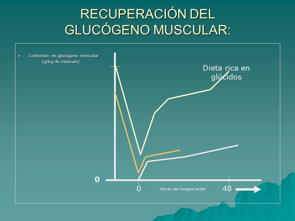 RECUPERACIÓN DEL GLUCÓGENO MUSCULAR: Contenido en glucógeno muscular Contenido en glucógeno muscular (g/kg de músculo) (g/kg de músculo) Horas de recuperación 048 0 Dieta rica en glúcidos