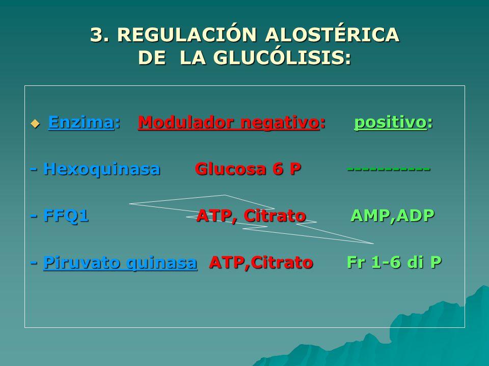 3. REGULACIÓN ALOSTÉRICA DE LA GLUCÓLISIS: Enzima: Modulador negativo: positivo: Enzima: Modulador negativo: positivo: - Hexoquinasa Glucosa 6 P -----