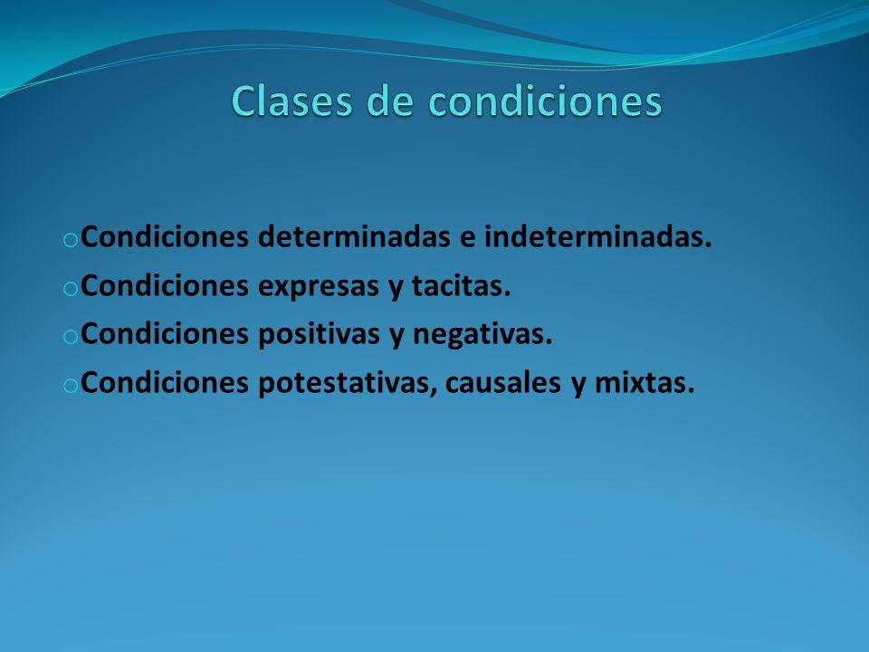 o Condiciones determinadas e indeterminadas.o Condiciones expresas y tacitas.