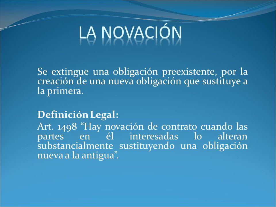Se extingue una obligación preexistente, por la creación de una nueva obligación que sustituye a la primera.