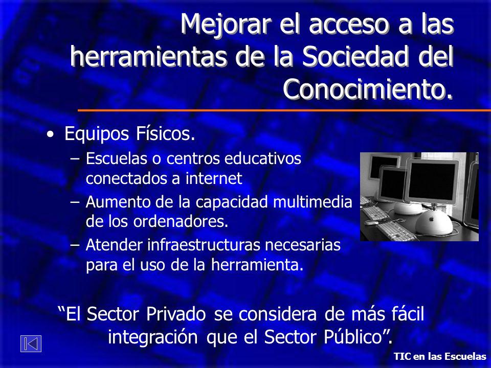 Mejorar el acceso a las herramientas de la Sociedad del Conocimiento. Equipos Físicos. –Escuelas o centros educativos conectados a internet –Aumento d