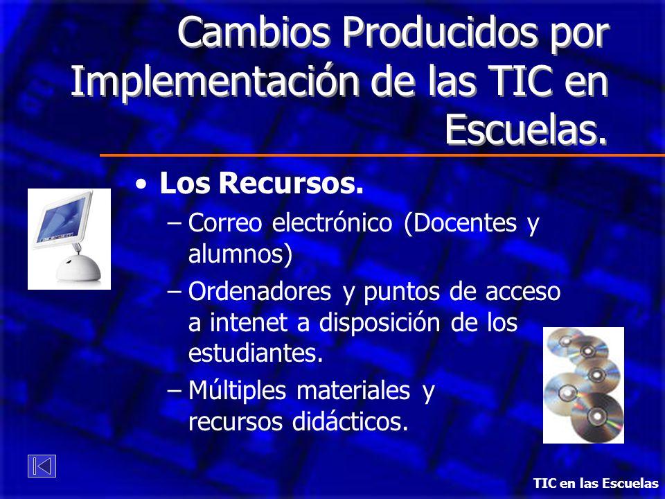 Cambios Producidos por Implementación de las TIC en Escuelas. Los Recursos. –Correo electrónico (Docentes y alumnos) –Ordenadores y puntos de acceso a