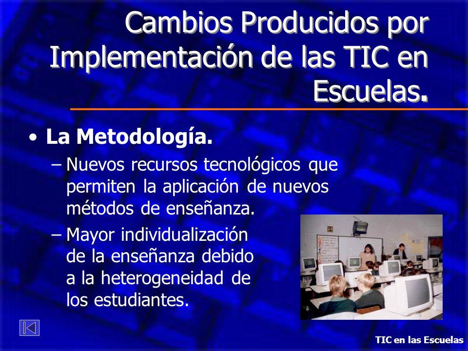 Cambios Producidos por Implementación de las TIC en Escuelas. La Metodología. –Nuevos recursos tecnológicos que permiten la aplicación de nuevos métod