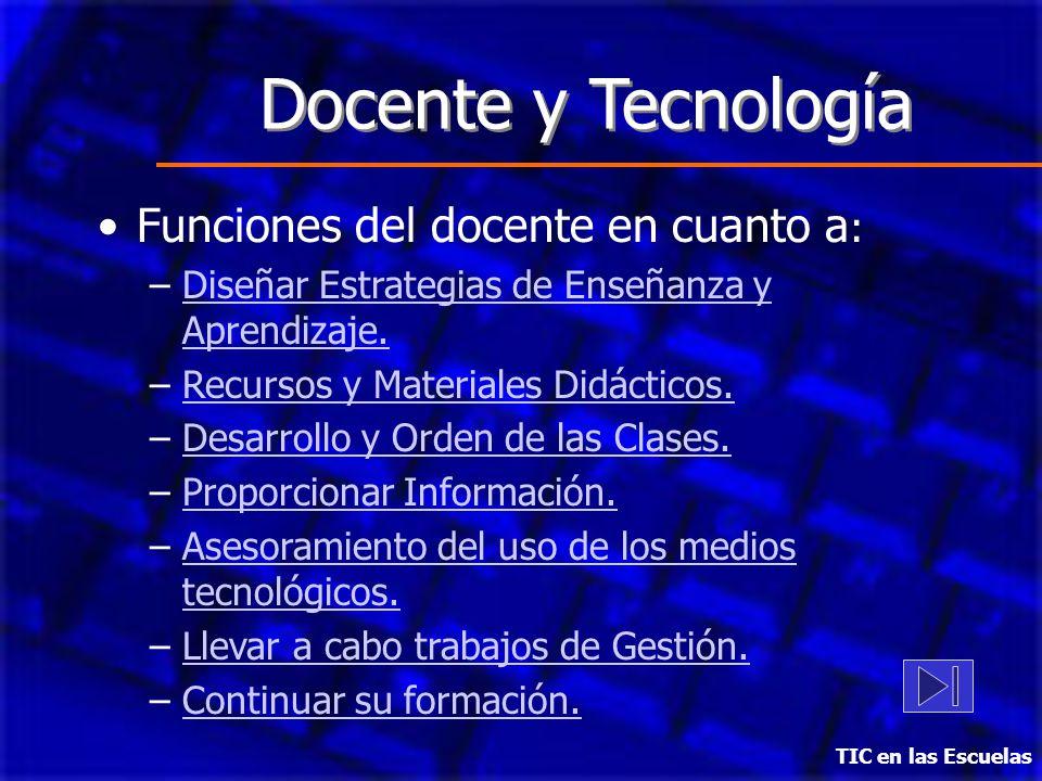 Docente y Tecnología Funciones del docente en cuanto a : –Diseñar Estrategias de Enseñanza y Aprendizaje.Diseñar Estrategias de Enseñanza y Aprendizaj