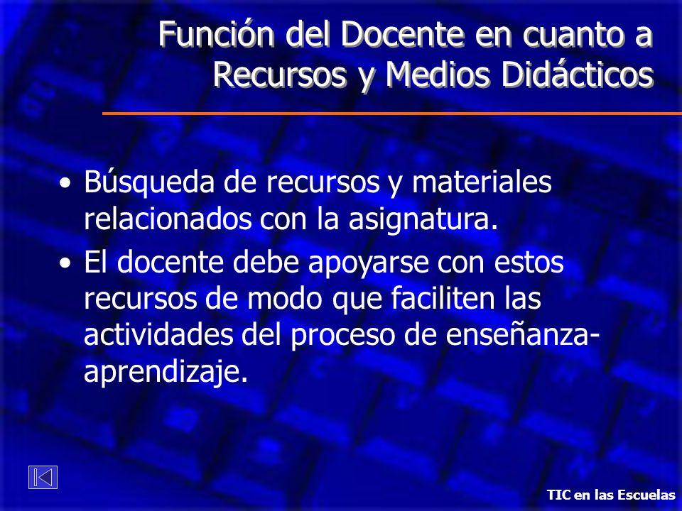 Función del Docente en cuanto a Recursos y Medios Didácticos Búsqueda de recursos y materiales relacionados con la asignatura. El docente debe apoyars