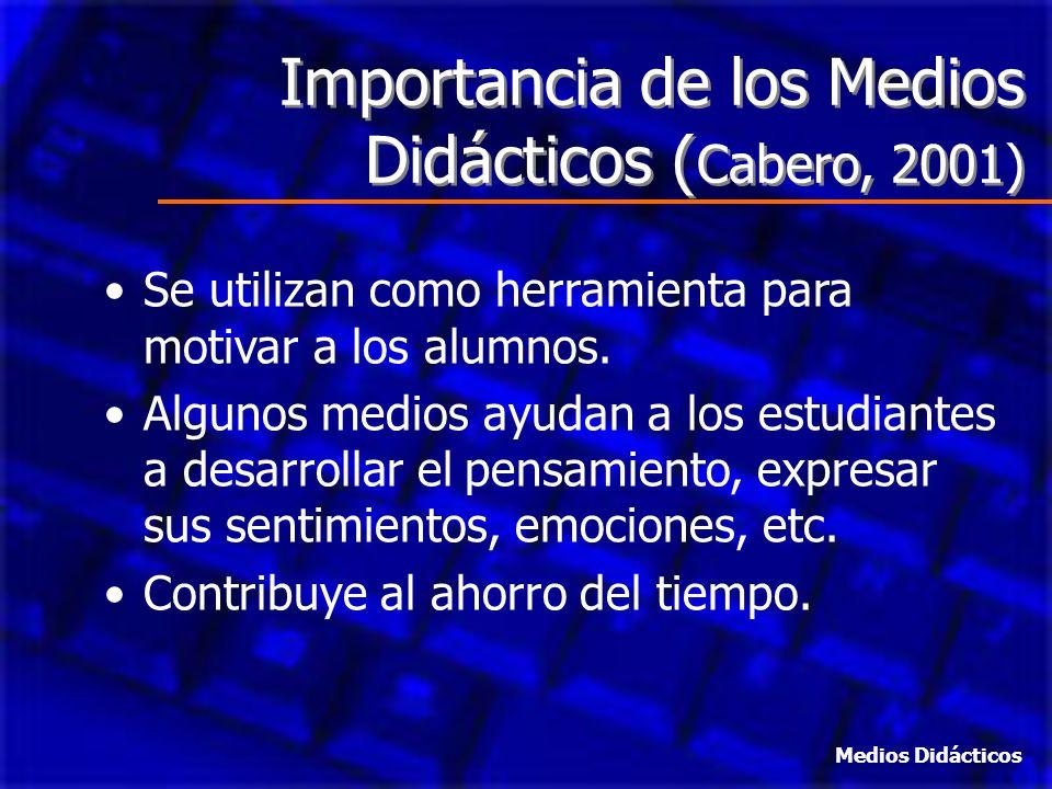 Importancia de los Medios Didácticos ( Cabero, 2001) Se utilizan como herramienta para motivar a los alumnos. Algunos medios ayudan a los estudiantes
