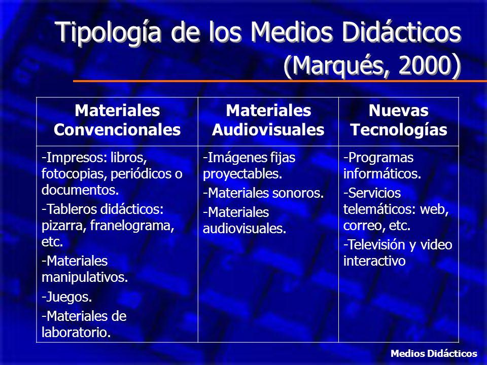 Tipología de los Medios Didácticos (Marqués, 2000 ) Materiales Convencionales Materiales Audiovisuales Nuevas Tecnologías -Impresos: libros, fotocopia
