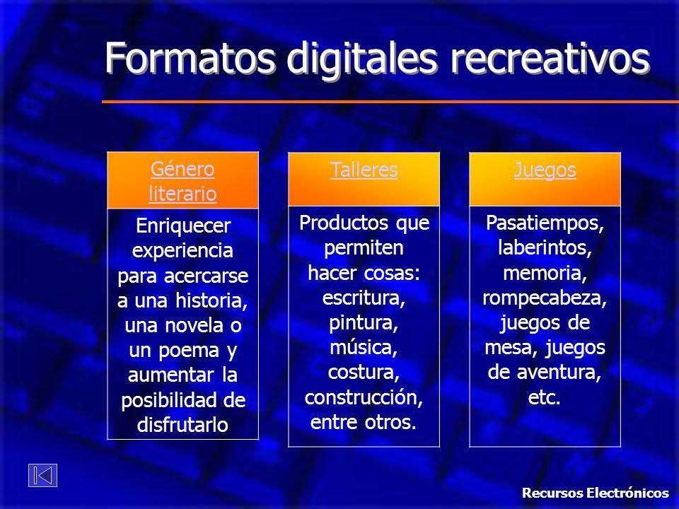 Formatos digitales recreativos Género literario Enriquecer experiencia para acercarse a una historia, una novela o un poema y aumentar la posibilidad