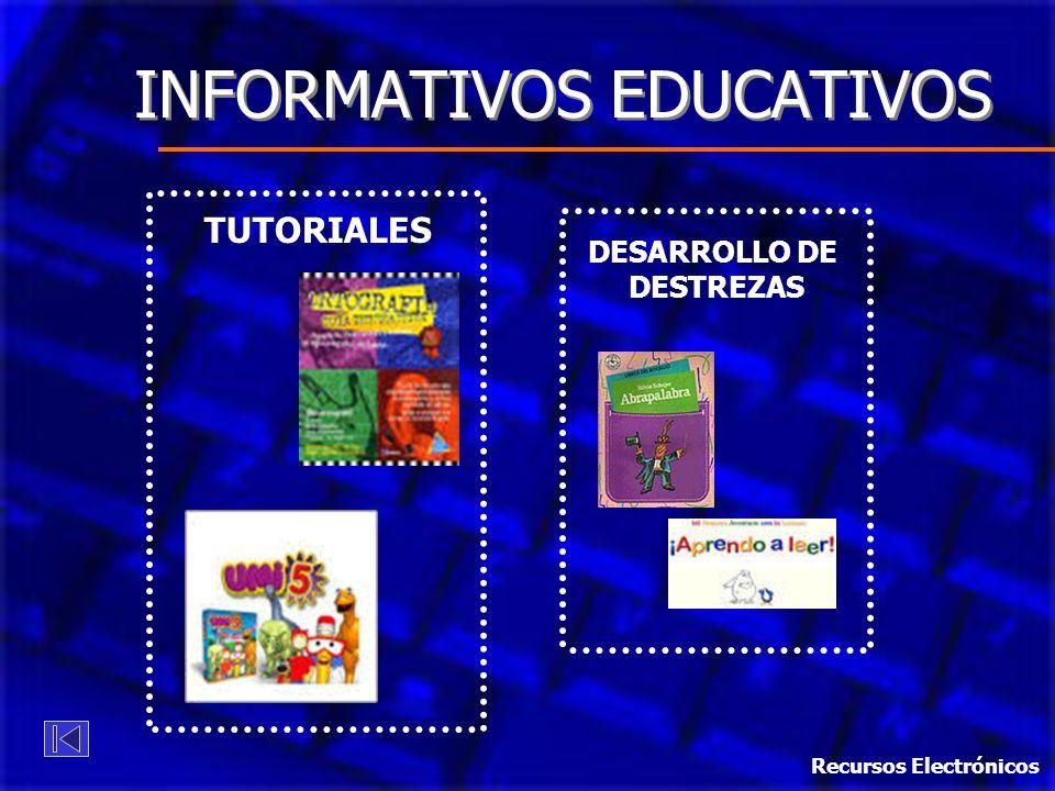 TUTORIALES DESARROLLO DE DESTREZAS INFORMATIVOS EDUCATIVOS Recursos Electrónicos