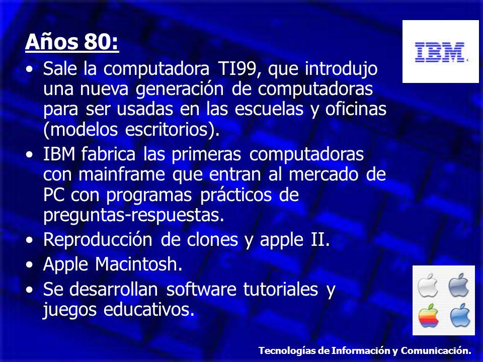 Años 80: Sale la computadora TI99, que introdujo una nueva generación de computadoras para ser usadas en las escuelas y oficinas (modelos escritorios)