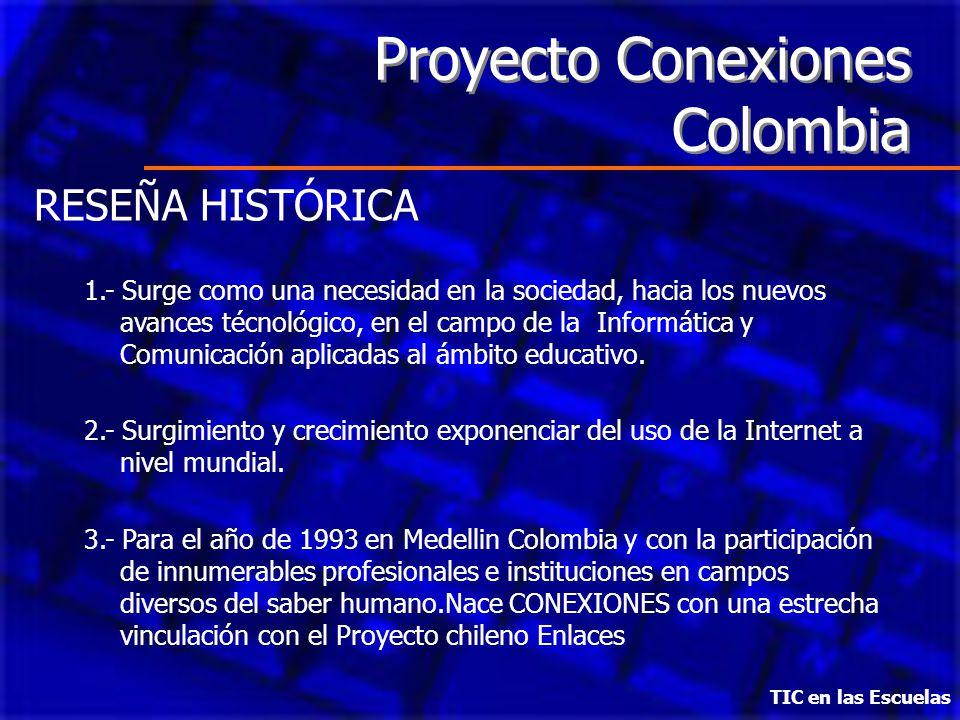 Proyecto Conexiones Colombia RESEÑA HISTÓRICA 1.- Surge como una necesidad en la sociedad, hacia los nuevos avances técnológico, en el campo de la Inf