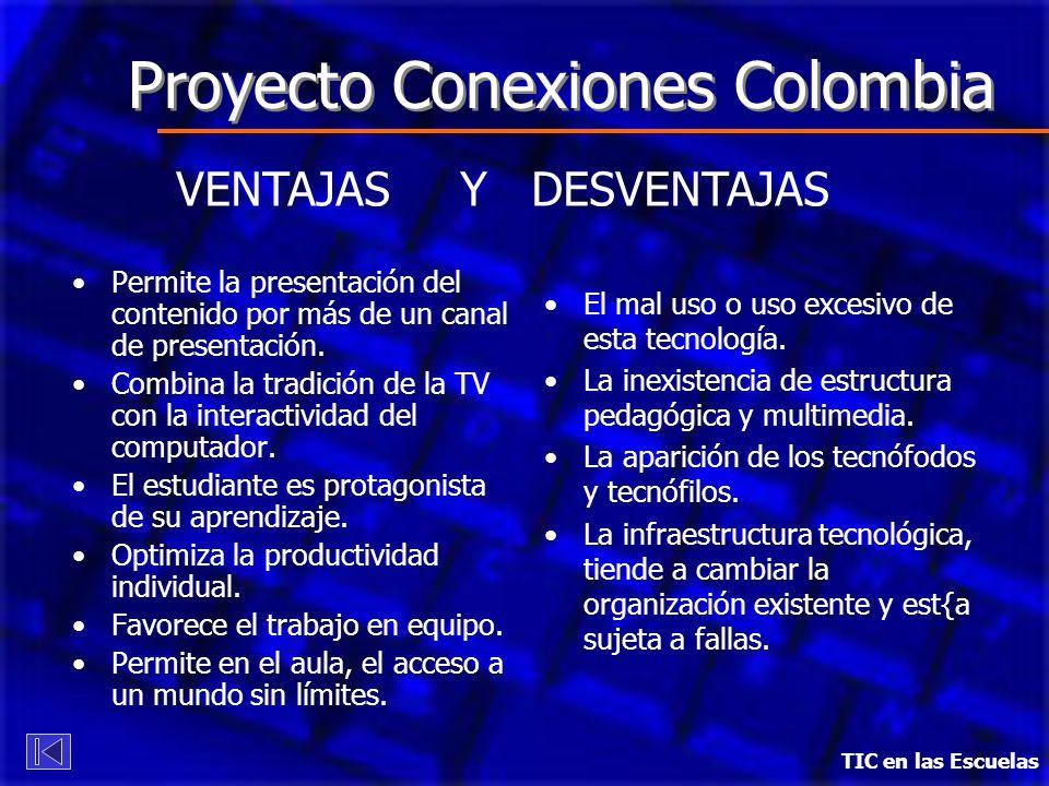 TIC en las Escuelas Proyecto Conexiones Colombia VENTAJAS Y DESVENTAJAS Permite la presentación del contenido por más de un canal de presentación. Com