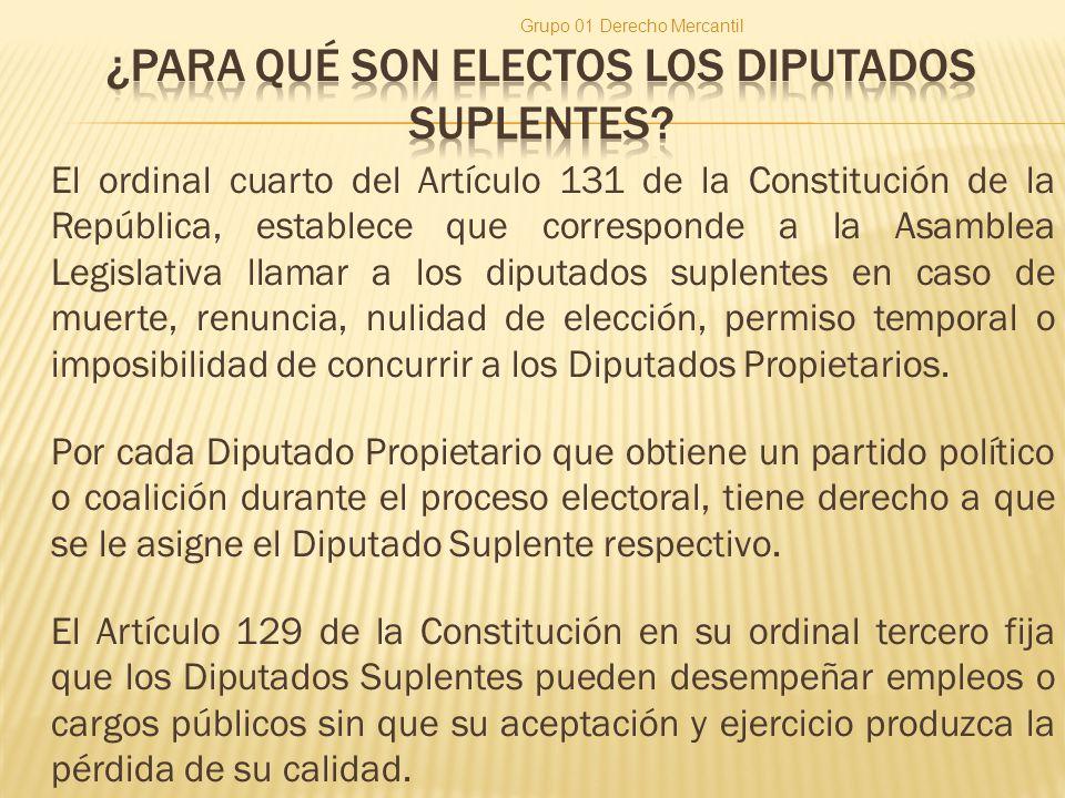 El ordinal cuarto del Artículo 131 de la Constitución de la República, establece que corresponde a la Asamblea Legislativa llamar a los diputados suplentes en caso de muerte, renuncia, nulidad de elección, permiso temporal o imposibilidad de concurrir a los Diputados Propietarios.