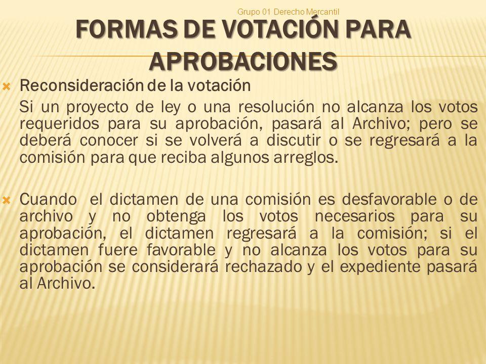 FORMAS DE VOTACIÓN PARA APROBACIONES Reconsideración de la votación Si un proyecto de ley o una resolución no alcanza los votos requeridos para su aprobación, pasará al Archivo; pero se deberá conocer si se volverá a discutir o se regresará a la comisión para que reciba algunos arreglos.