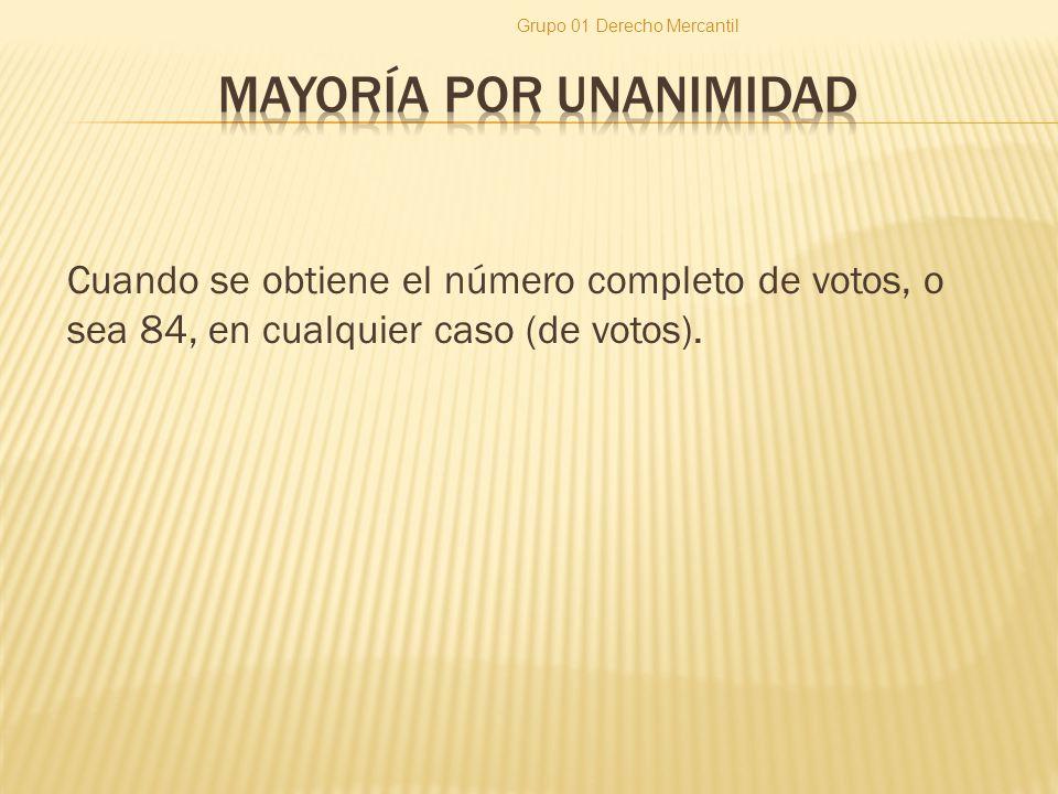 Cuando se obtiene el número completo de votos, o sea 84, en cualquier caso (de votos). Grupo 01 Derecho Mercantil