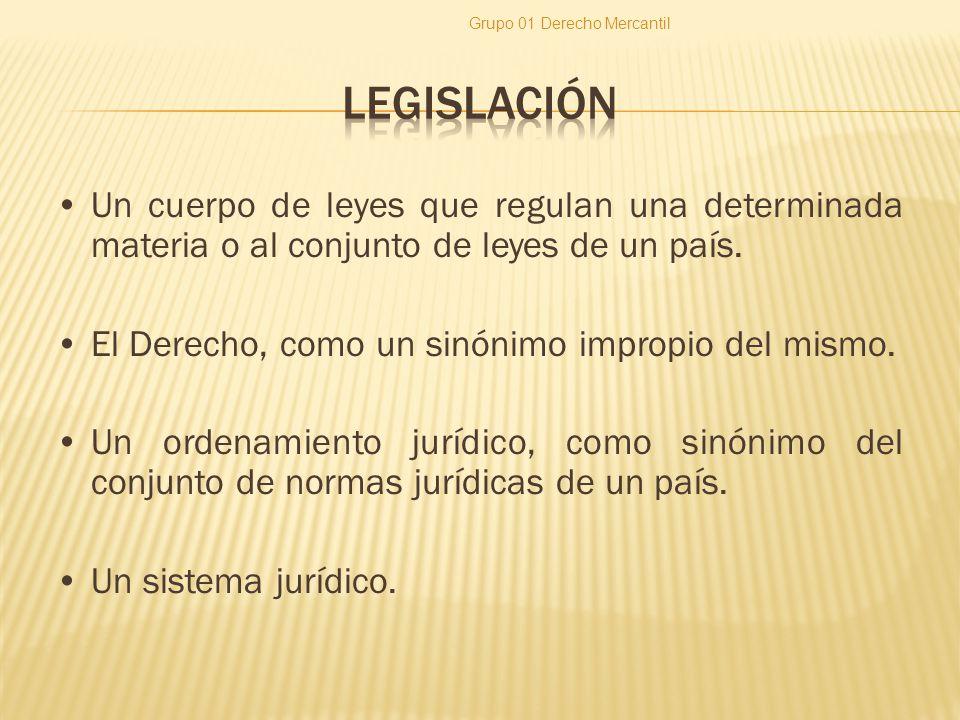 Un cuerpo de leyes que regulan una determinada materia o al conjunto de leyes de un país. El Derecho, como un sinónimo impropio del mismo. Un ordenami