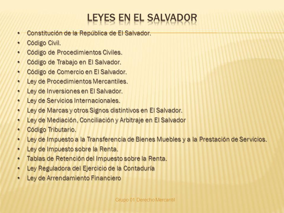 Constitución de la República de El Salvador.Constitución de la República de El Salvador. Código Civil.Código Civil. Código de Procedimientos Civiles.C