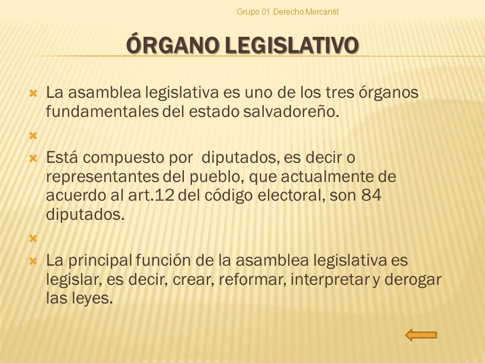 ÓRGANO LEGISLATIVO La asamblea legislativa es uno de los tres órganos fundamentales del estado salvadoreño. Está compuesto por diputados, es decir o r