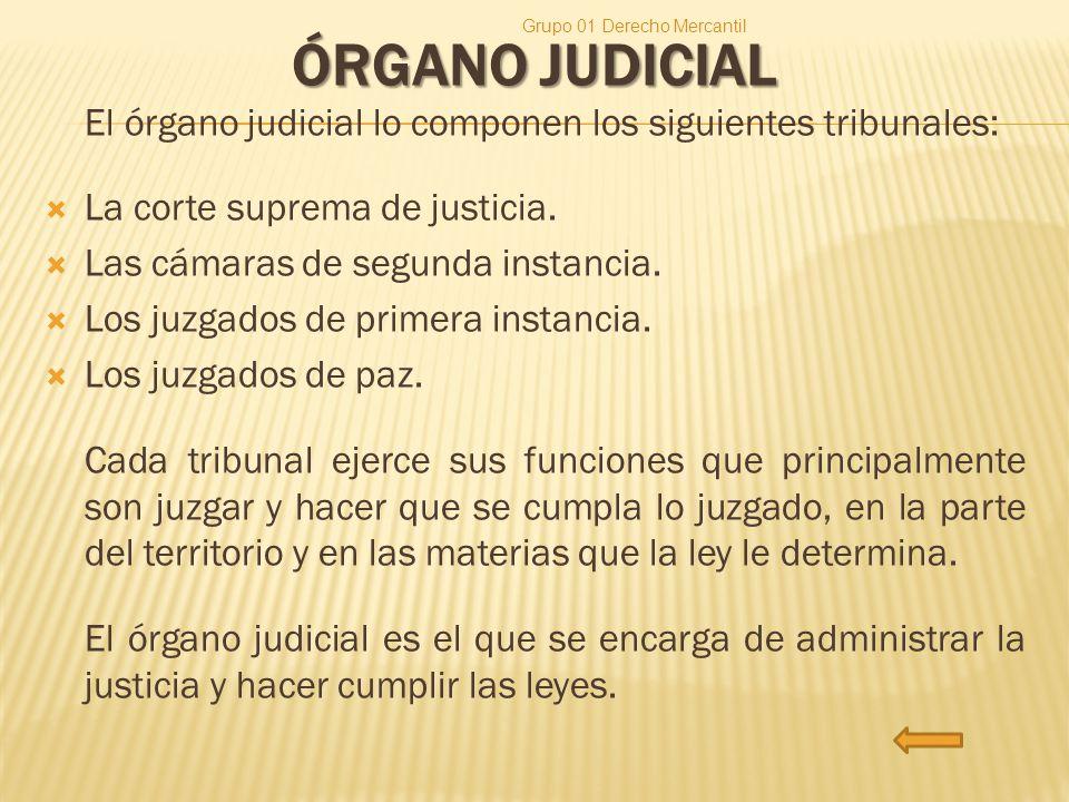 ÓRGANO JUDICIAL El órgano judicial lo componen los siguientes tribunales: La corte suprema de justicia. Las cámaras de segunda instancia. Los juzgados