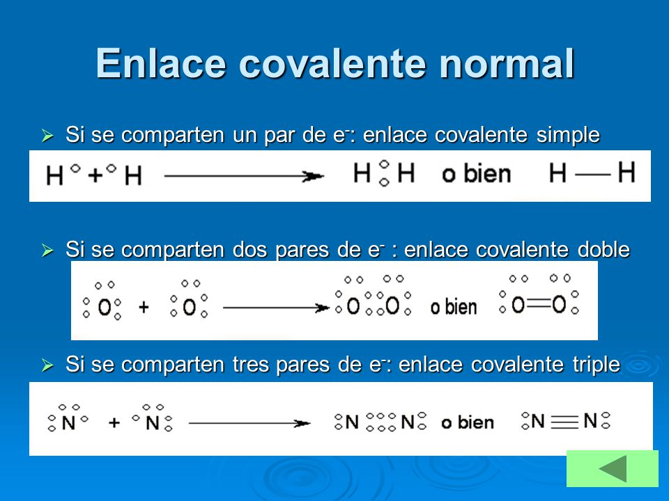 Enlace covalente normal Si se comparten un par de e - : enlace covalente simple Si se comparten un par de e - : enlace covalente simple Si se comparte