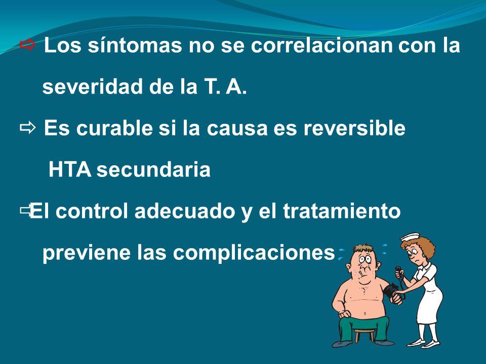 Los síntomas no se correlacionan con la severidad de la T. A. Es curable si la causa es reversible HTA secundaria El control adecuado y el tratamiento
