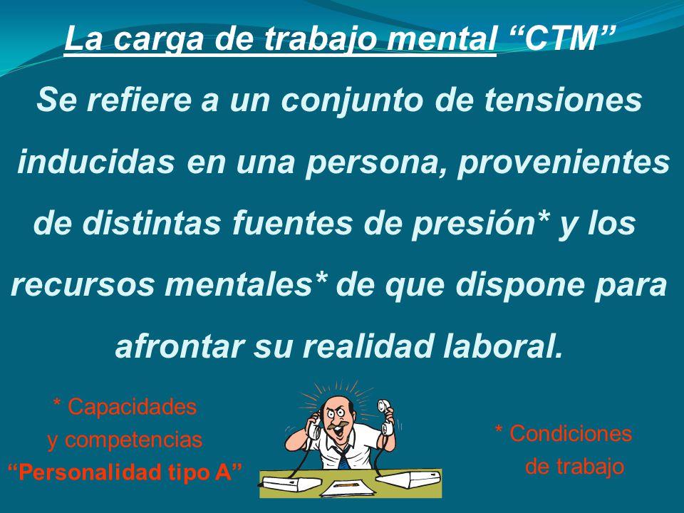 La carga de trabajo mental CTM Se refiere a un conjunto de tensiones inducidas en una persona, provenientes de distintas fuentes de presión* y los rec