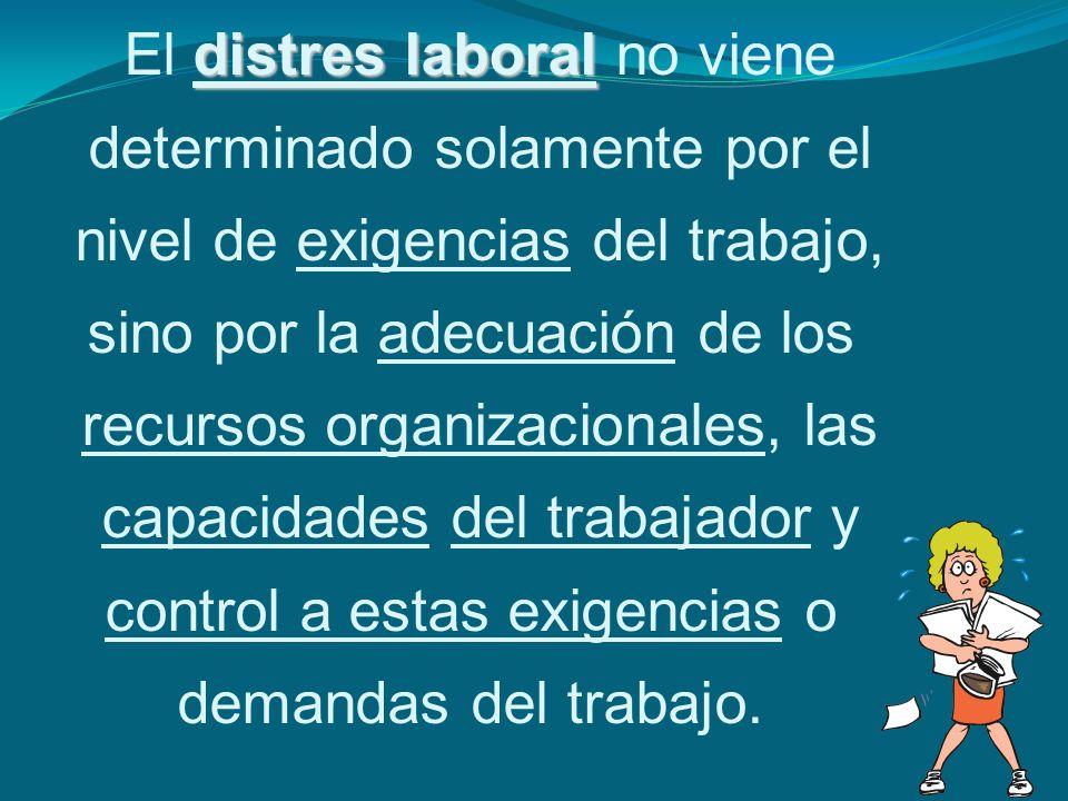 distres laboral El distres laboral no viene determinado solamente por el nivel de exigencias del trabajo, sino por la adecuación de los recursos organ