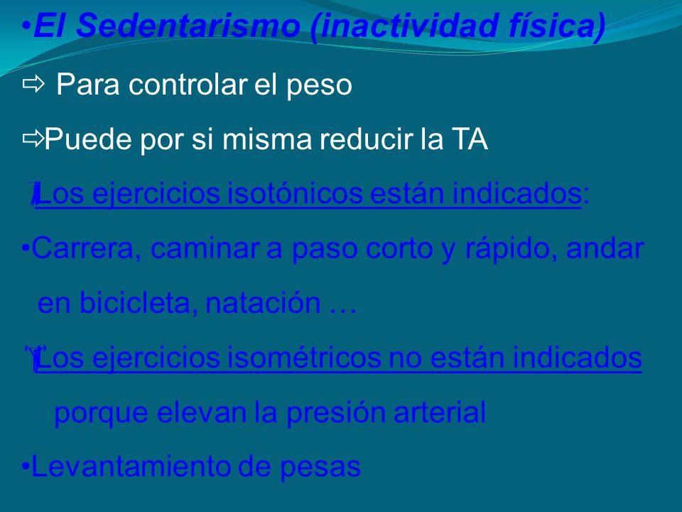 El Sedentarismo (inactividad física) Para controlar el peso Puede por si misma reducir la TA Los ejercicios isotónicos están indicados: Carrera, camin