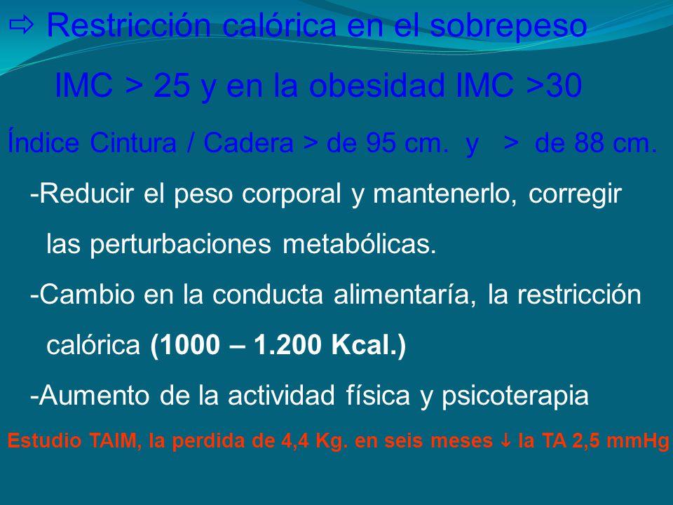 Restricción calórica en el sobrepeso IMC > 25 y en la obesidad IMC >30 Índice Cintura / Cadera > de 95 cm. y > de 88 cm. -Reducir el peso corporal y m