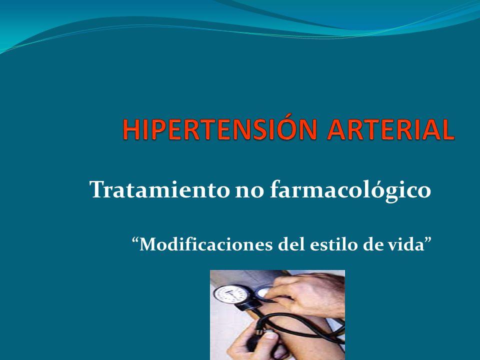 Tratamiento no farmacológico Modificaciones del estilo de vida