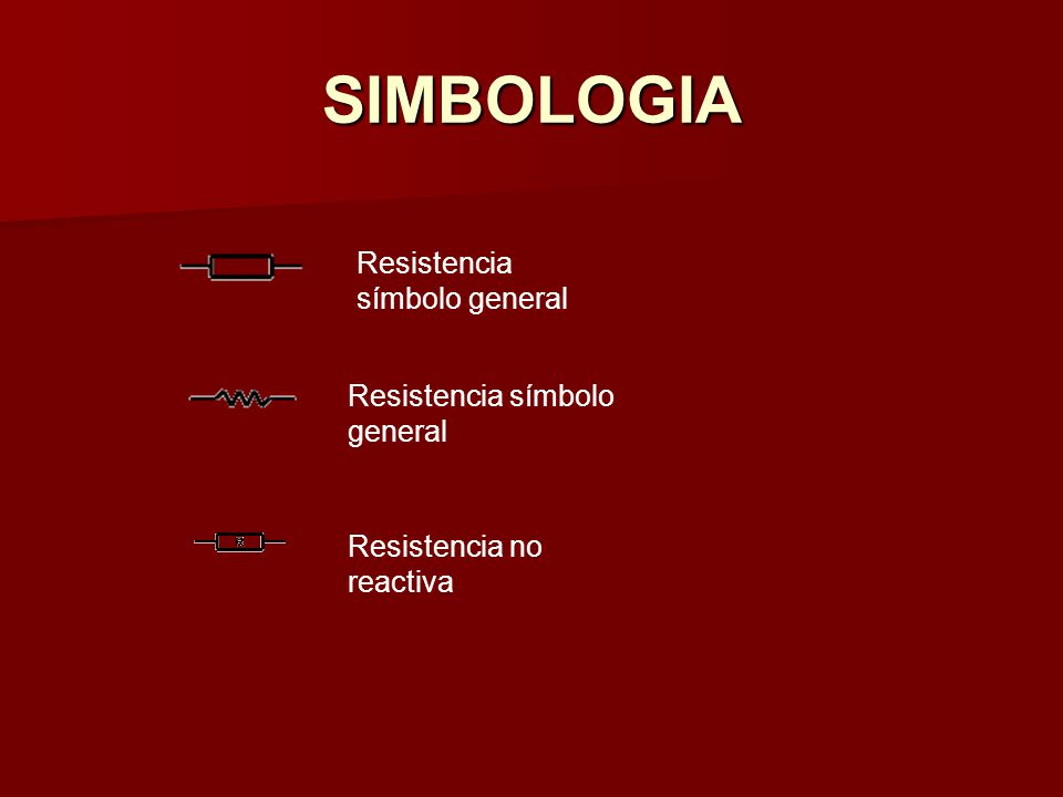 SIMBOLOGIA Resistencia símbolo general Resistencia símbolo general Resistencia no reactiva