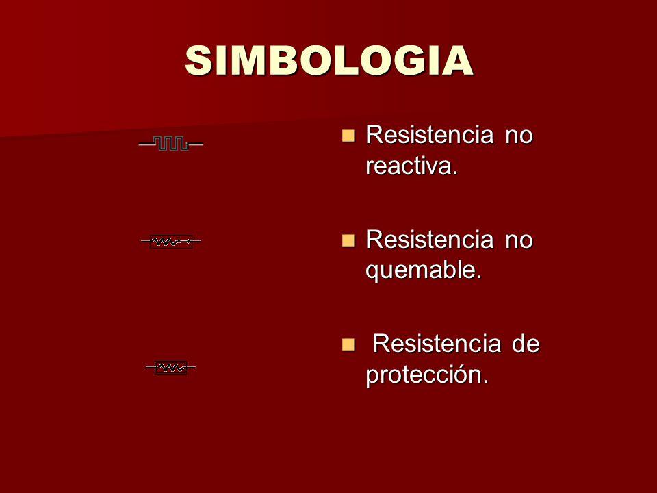 SIMBOLOGIA Resistencia no reactiva. Resistencia no quemable. R Resistencia de protección.