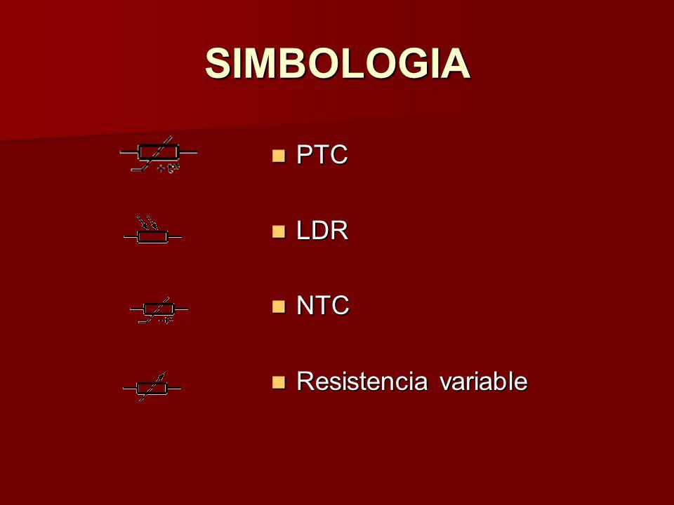 SIMBOLOGIA PTC LDR NTC Resistencia variable