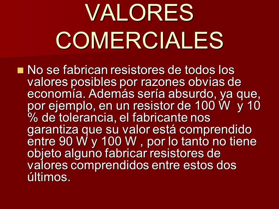 VALORES COMERCIALES No se fabrican resistores de todos los valores posibles por razones obvias de economía.