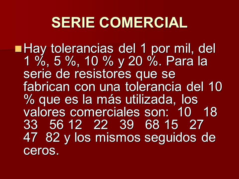SERIE COMERCIAL Hay tolerancias del 1 por mil, del 1 %, 5 %, 10 % y 20 %.