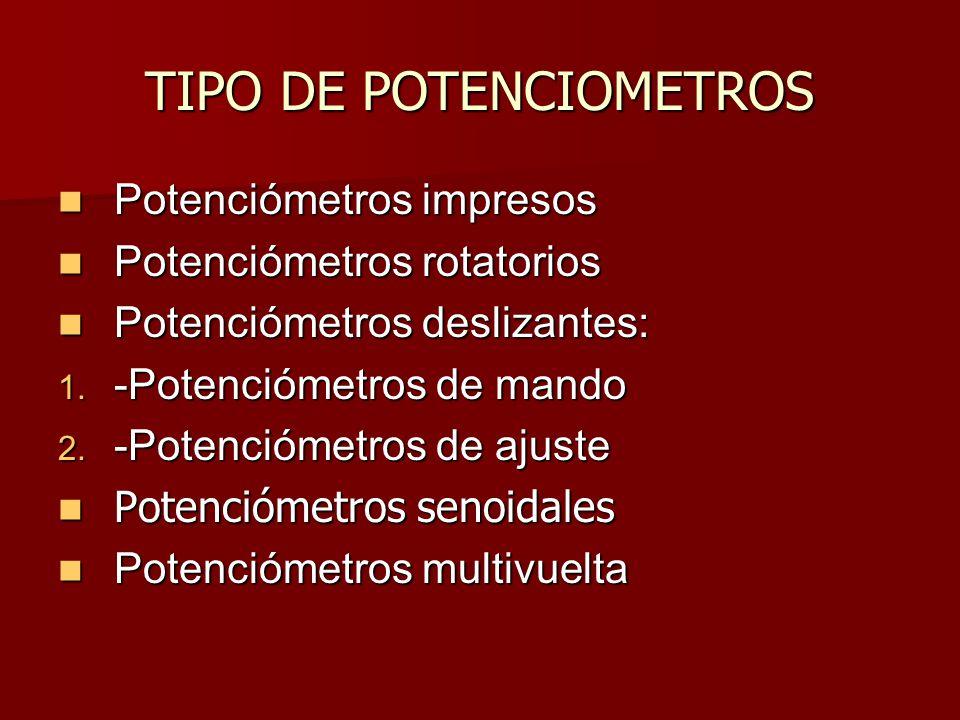 TIPO DE POTENCIOMETROS Potenciómetros impresos Potenciómetros rotatorios Potenciómetros deslizantes: 1.